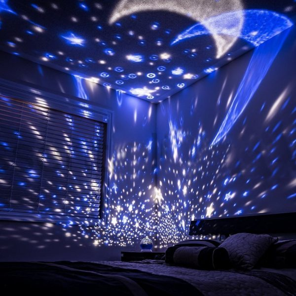 Baby Night Lights For Kids Starry Light Rotating Moon Stars Projector 9 Color Options Lighting Lamp Usb Cable Batteries