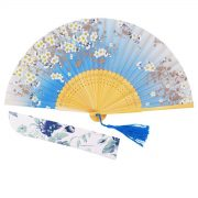 Generic 265D Lee Goal White Butterfly Pink Flowers Pattern Lace Bamboo Handheld Folding Fans for Girls Women One Size