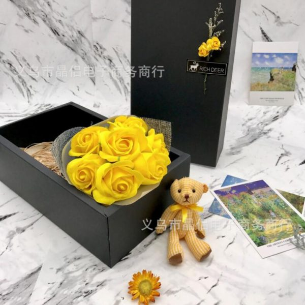 Artificial Soap Rose Flower With Bear Forever Love Gift With Gift