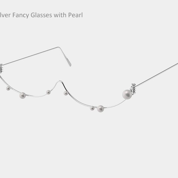 Silver Fancy Glasses with Pearl